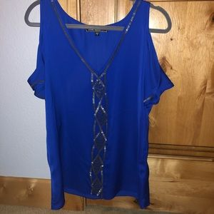 NWT Love Stitch cold shoulder beaded blouse